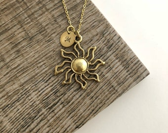 Sun Necklace, Initial Necklace, Handstamped Necklace, Best Friend Gift, Friendship Necklace
