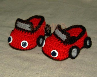 Baby Boy Sports Car Booties -INSTANT DOWNLOAD Crochet PDF Pattern