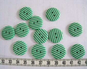 24 pcs of  Stripe Button in White Stripe on Green -  20mm