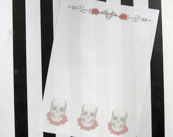 Simple skull and roses writing paper for penpaling or journaling