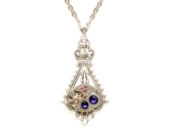 PURPLE Steampunk Necklace GORGEOUS Steampunk Wedding Necklace Silver Necklace Victorian Steampunk Jewelry by Victorian Curiosities