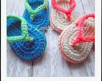 Baby flip flops pattern - PDF74 digital download