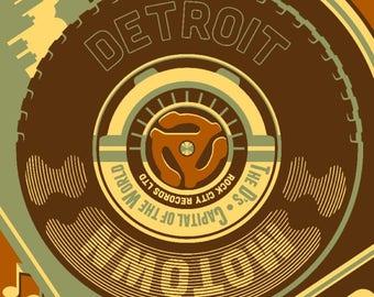 Detroit, Michigan - Motown & Motor City - Lantern Press Artwork (Art Print - Multiple Sizes Available)