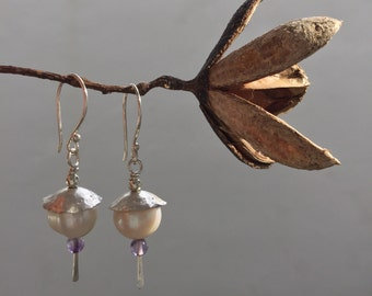 Pearl earrings, Pearl jewelry, Pearl dangles, Sterling silver dangles, Handmade earrings, Natural stone earrings, Handmade silver jewelry