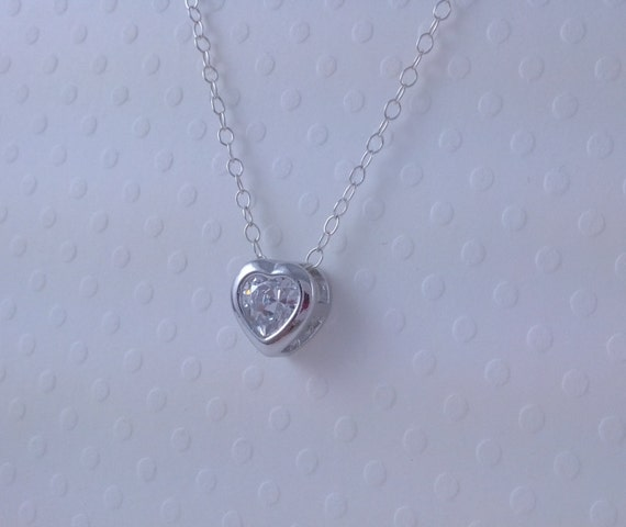 18th Birthday Cz T Bar Sterling Silver Heart Bracelet Can: Tiny CZ Heart Necklace Little Heart Sterling Silver Chain