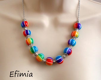 Rainbow colors with polymer clay beaded necklace