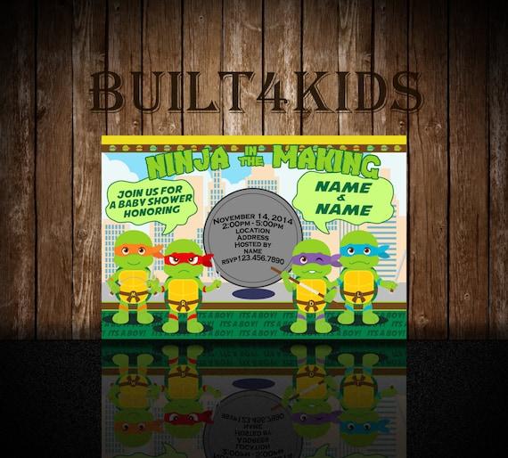Beautiful Teenage Mutant Ninja Turtles Baby Shower Invitation/ Invite
