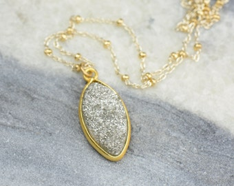 Silver Druzy Necklace | Dainty Delicate Necklace | Sterling Silver & 14k gold filled | Marquis Pendant Necklace