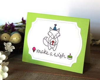 Handmade Birthday Card, Fox and Present, Make a Wish, Hand Stamped and Colored, Unique, One of a Kind, Blank Inside, Free US Shipping