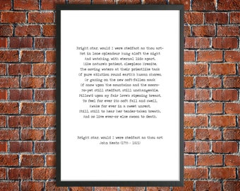 John Keats Printable Love Sonnet 'Bright Star 'Instant Download Vintage Typewriter Font Love Print Romantic Gift Inspirational Poster