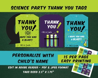 science party favor tags | Science birthday thank you tags, birthday thank you tags, mad scientist thank you tags, chemistry party
