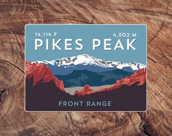 Pikes Peak Colorado 14er Sticker - high quality, weatherproof, 14er mountain illustration
