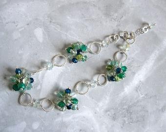 Gemstone Cluster Bracelet in Silver
