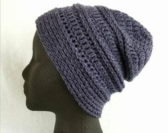 Wool Crochet Beanie - Slouchy hat - dusty purple