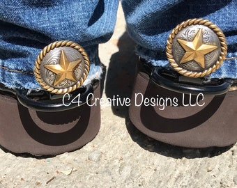 Western, Boots, Cowgirl, Conchos, Stars, Accessories, Mother's Day, Birthday, Graduation, Gift Ideas, Unique, Cuff Keepers, Silver, Gold