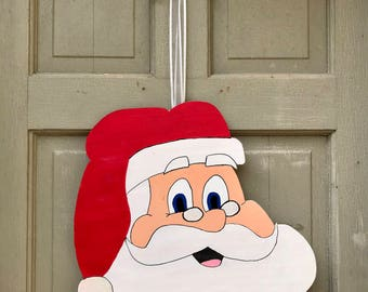 Custom hand painted Santa door hanger & Hand painted santa | Etsy