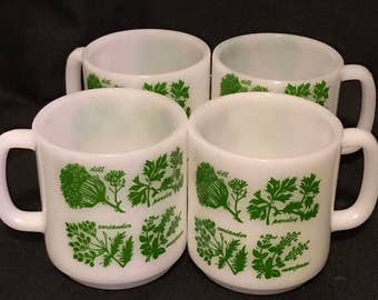 Vintage Glasbake Coffee Mugs Mid Century Vintage White with Herbs on the Cups, Farmhouse Kitchen, Country Kitchen. Set of 4