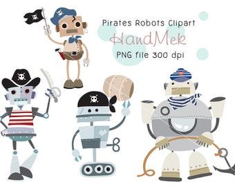 Pirate robots Clipart ,robot clipart, pirate clip art Instant Download PNG file - 300 dpi
