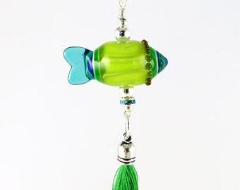 Fish Shape Pendant, Green Fish Pendant, Lampwork Pendant, Indian Pendant, Round Tribal Pendant, Handbag Accessory, Lampwork Keyring