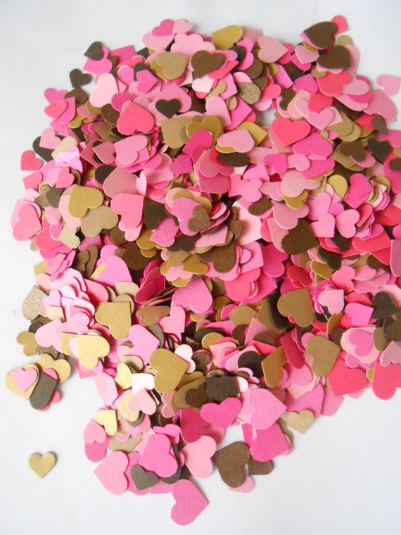 Over 2000 Mini Confetti Hearts. Pink, Gold, Bronze. Weddings, Showers, Decorations. ANY COLOR Available.