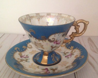 Antique Cup and Saucer Set/Royal Sealy China/Made in Japan/Covalt Blue with Gold trim