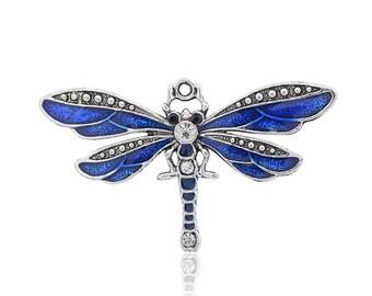 Blue enamel dragonfly pendant