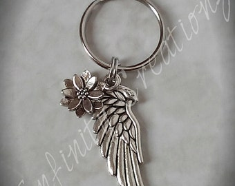 Angel wing keychain with flower