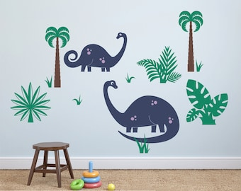 Dinosaur Wall Decal Brontosaurus (2 PACK) Cute Dino Baby Nursery Prehistoric Theme Room Decor (MEDIUM & SMALL)