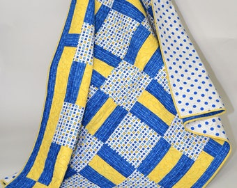 Blue and Yellow  Handmade Patchwork Quilt