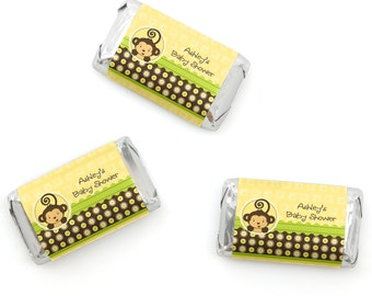 Monkey Mini Candy Bar Wrappers - Personalized Baby Shower & Birthday Party Hershey® Miniature Candy Bar Sticker Labels - 20 Ct