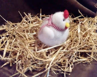Hen in straw, chicken felted