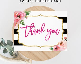 Kate Thank You Card, Spade Printable Thank You Cards, Kate Theme Party, Stripes Bridal Shower Card, Baby Shower, Instant Download, A2