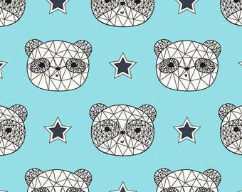 AVALANA Tissu jersey coton AVALANA Têtes de 'ours noir blanc turquoise x40cm