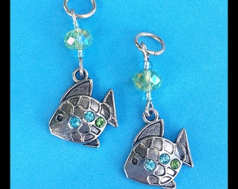 Hearing Aid Charms : Blue and Green Rhinestone Fish!