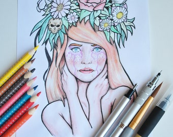 Illustration by hand girl with a wreath of flowers. Drawn with colored pencils.