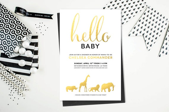 Safari Animal Baby Shower Or Birthday Invitation Printable