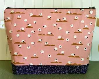 Fanciful Sheep Knitting Project Bag - Large / Sweater Size