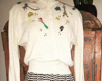 Rare vintage Parisian themed novelty cardigan sweater.