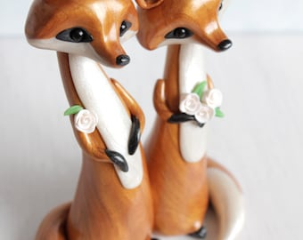 Fox Wedding Cake Topper - personalized animal polymer clay cake topper and keepsake for woodland rustic and chic wedding theme
