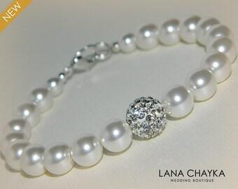 White Pearl Bridal Bracelet Swarovski Pearl Silver Wedding Bracelet White Pearl Bracelet Wedding Pearl Jewelry Bridal Bridesmaids Bracelet