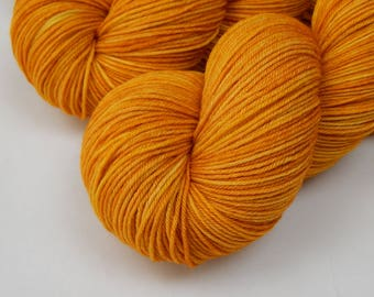 Hand Dyed Yarn, Sock Weight 4 Ply Superwash Merino Wool Yarn - Marigold - Indie Dyed Knitting Yarn, Fingering Tonal Sock Yarn, Yellow Orange