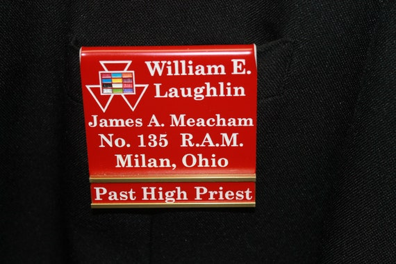 Past High Priest Officer or Members over the pocket Badge with interchangeable title slide bar