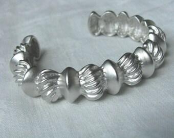 Retro vintage Cuff bracelet silver tone with textured design