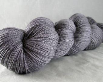 Smoke - Hand Dyed Superwash Merino Silk Cobweb Lace Yarn