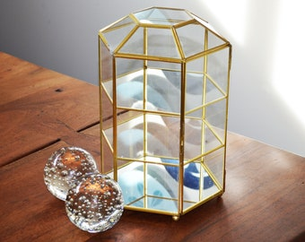 """Vintage Brass and Glass Curio Cabinet, 12"""" tall Hexagon Shape, Figurine Display Home Decor, Footed ball base circa 1960s-70s"""