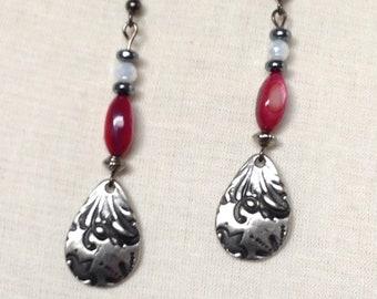 Cranberry Red TierraCast Dangles,Ruby Red pressed TierraCast Earrings!