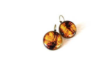 Brown faux driftwood resin earrings / Summer jewelry / Antique bronze jewelry / Mermaid jewelry / Cute gift for her / FREE SHIPPING