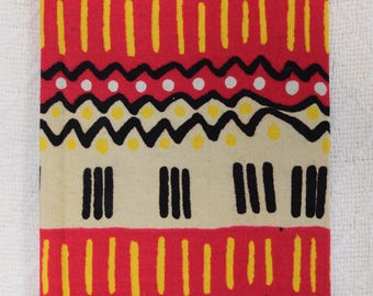 Pink and Yellow Tally Mark African Fabric Notebook (Plain or Lined)