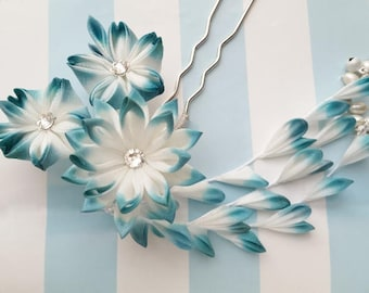 Peacock Teal Turquoise Silk Flower Kanzashi Hair Fork