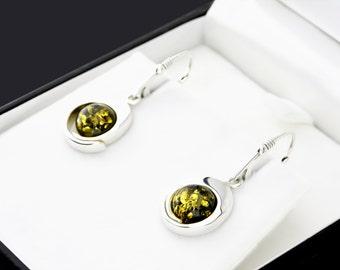 Amber Stone Earrings, Elegant Earrings, Sterling Silver Earrings, Gemstone Earring, Silver Amber Gemstone Earrings, Modern Amber Jewelry